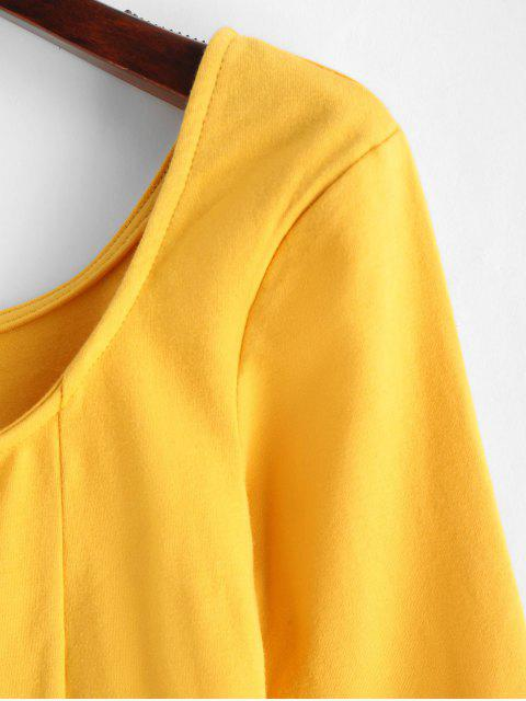 fashion Cropped V Wire Curved Hem Tee - GOLDENROD S Mobile