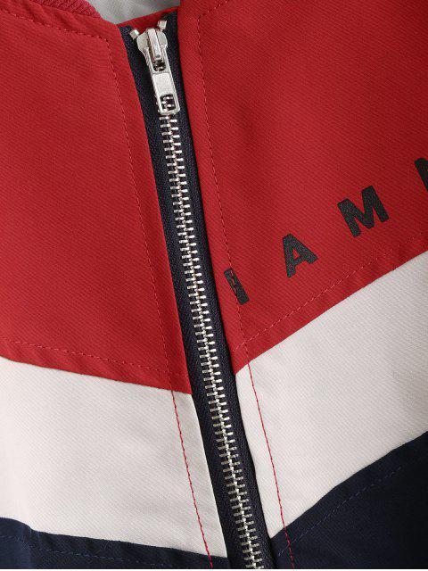 口號圖形拉鍊顏色塊轟炸機夾克 - 多 XL Mobile