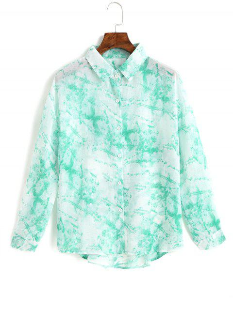women's Button Down Tie Dye Cut Out Back Shirt - TURQUOISE ONE SIZE Mobile