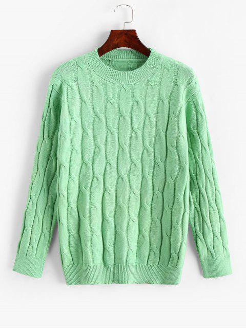 Cable Knit Solid圓領毛衣 - 金剛鸚鵡藍綠色 One Size Mobile