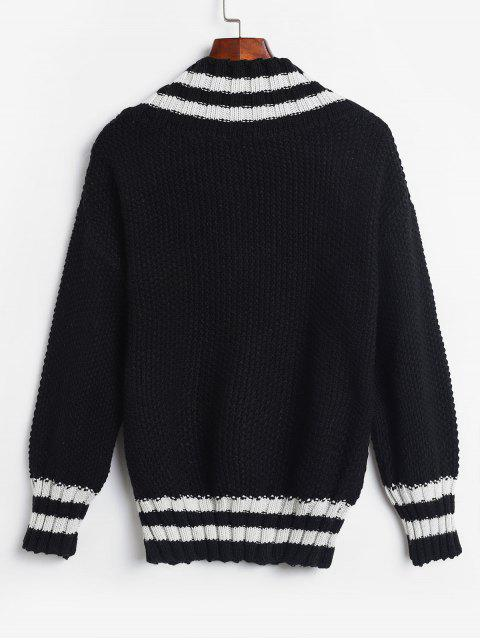 outfits V Neck Pullover Stripes Panel Sweater - BLACK ONE SIZE Mobile