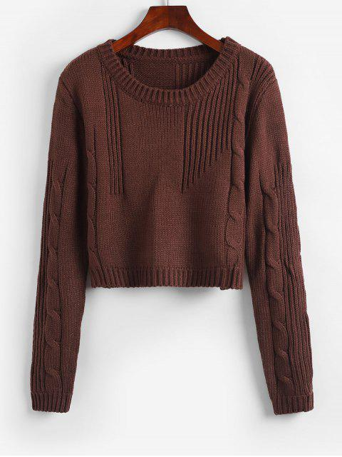 women Cable Knit Solid Crop Sweater - DEEP COFFEE ONE SIZE Mobile