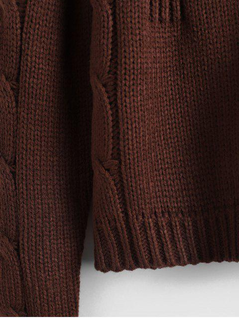 Cable Knit Solid Crop毛衣 - 深咖啡 One Size Mobile