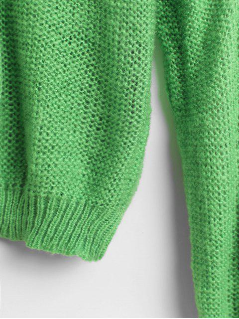 Pointelle針織純色寬鬆毛衣 - 黃綠色 One Size Mobile