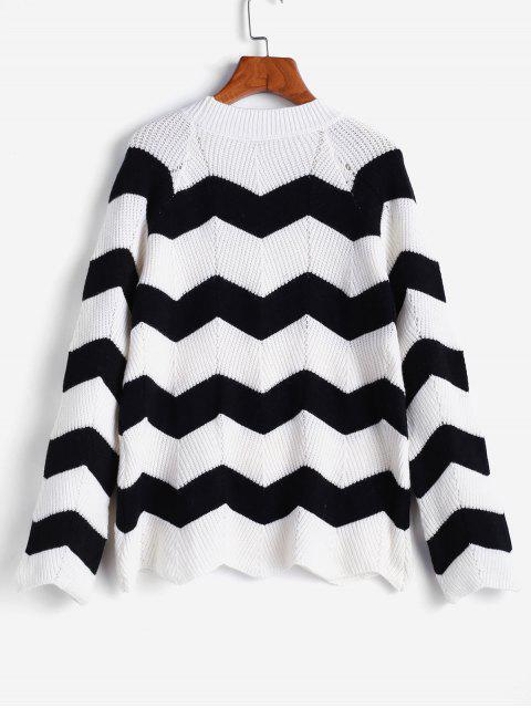 ZAFUL Zigzag Mock Neck插肩袖針織毛衣 - 多 M Mobile
