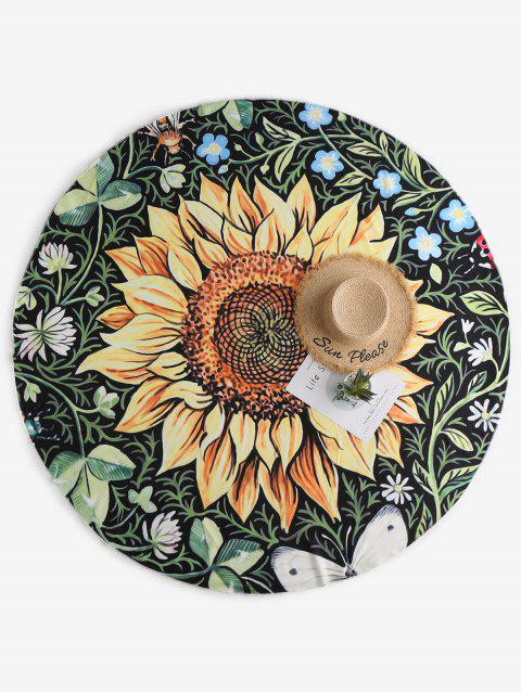 affordable ZAFUL Sunflower Print Beach Throw - MULTI-A ONE SIZE Mobile