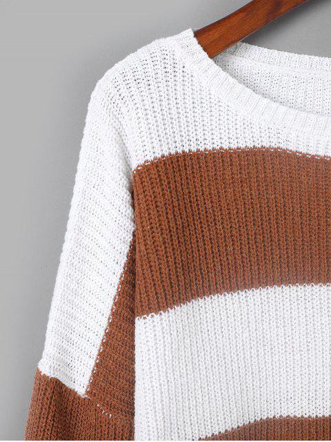shops ZAFUL Two Tone Drop Shoulder  Boyfriend Sweater - MULTI-A L Mobile