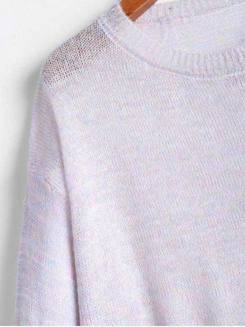 new ZAFUL Metallic Thread Slit Drop Shoulder Tunic Sweater - MULTI M Mobile