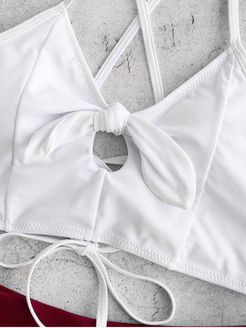 Traje de baño Tankini de pierna alta con cordones y bloques de color ZAFUL - Vino Tinto L Mobile