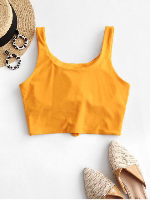 best ZAFUL Knotted Padded Plain Swim Top - BEE YELLOW M Mobile