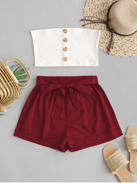 fashion ZAFUL Two Piece Buttoned Ribbed Bandeau Top Set - RED WINE S Mobile