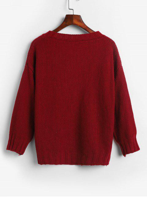 womens V Neck Solid Loose Fit Sweater - RED ONE SIZE Mobile
