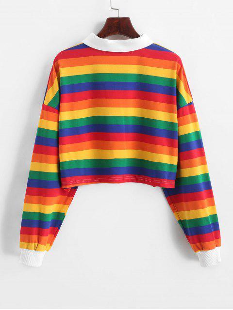 對比條紋彩虹半按鈕作物運動衫 - 多-A L Mobile