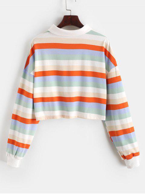 對比條紋彩虹半按鈕作物運動衫 - 多-B L Mobile