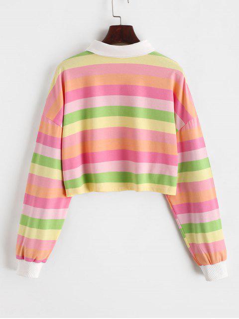 對比條紋彩虹半按鈕作物運動衫 - 多-C L Mobile