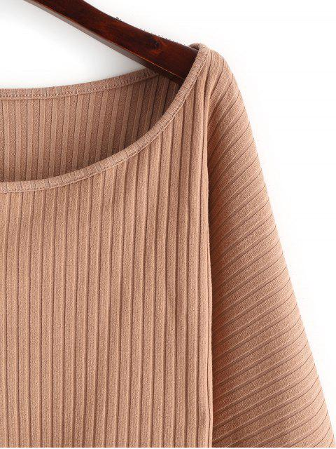 outfit Lantern Sleeve Ribbed Cropped Top - LIGHT KHAKI L Mobile