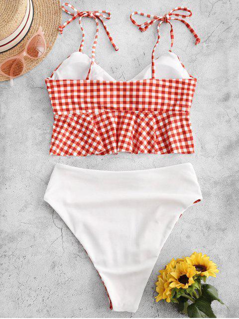 Traje de baño Tankini reversible a cuadros de pierna alta atado Peplum Tankini - Rojo Frijol M Mobile