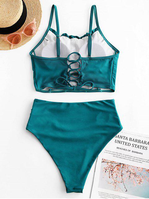 ZAFUL Lace Up Lettuce Trim Tummy Control traje de baño Tankini - Verde de Mar Ligero 2XL Mobile