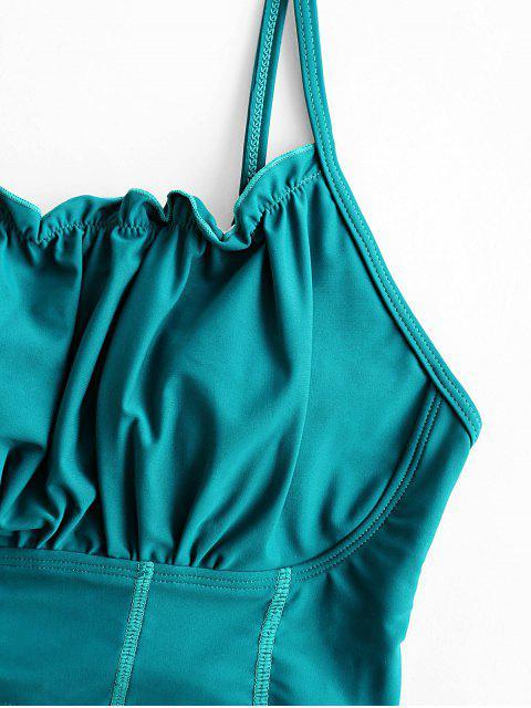ZAFUL Lace Up Lettuce Trim Tummy Control traje de baño Tankini - Verde de Mar Ligero M Mobile