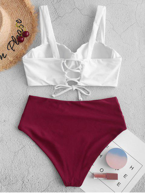 shops ZAFUL Push Up Ruched Shell Tankini Swimsuit - MAROON L Mobile
