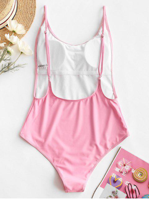 sale ZAFUL Unicorn Print Backless High Cut One-piece Swimsuit - PINK M Mobile