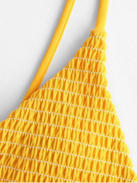 ZAFUL Biquíni de Cintura Baixa e Franzido - Abelha Amarela L Mobile