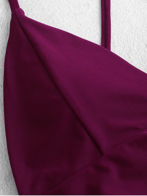 ZAFUL Criss Cross High corte con penetración de Tankini del traje de baño - Pastel de Ciruela M Mobile