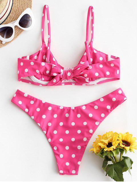 women ZAFUL Polka Dot Underwire High Leg Bikini Swimwear - HOT PINK S Mobile