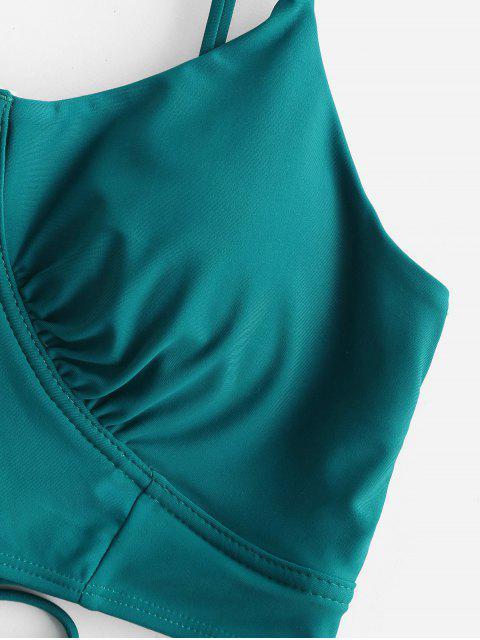 ZAFUL Lechuga del cordón del ajuste de control de la panza de Tankini del traje de baño - Azul Eléctrico S Mobile