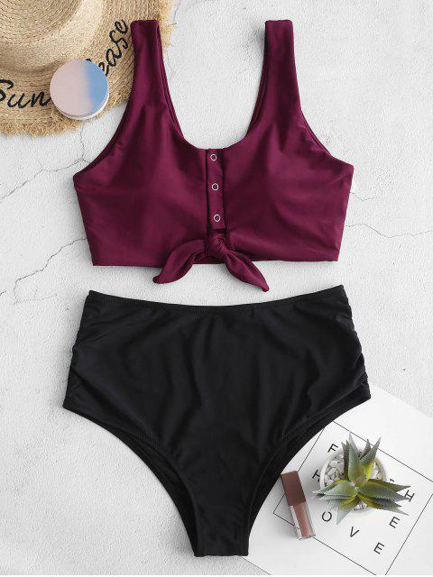 hot ZAFUL Knot Snap Button Ruched Tankini Swimsuit - MAROON L Mobile