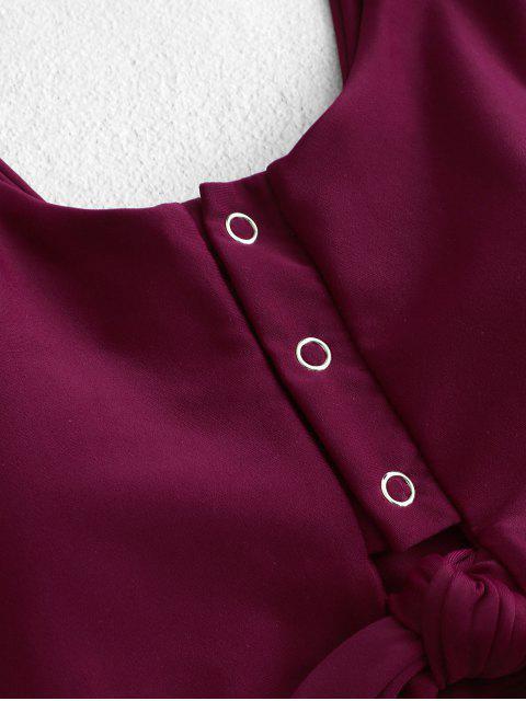 Botón ZAFUL nudo Snap acanalada de Tankini del traje de baño - Marrón L Mobile