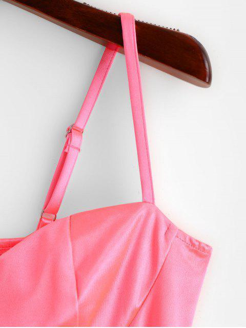 七分霓虹燈緊身吊帶背心頂 - 霓虹粉紅色 M Mobile