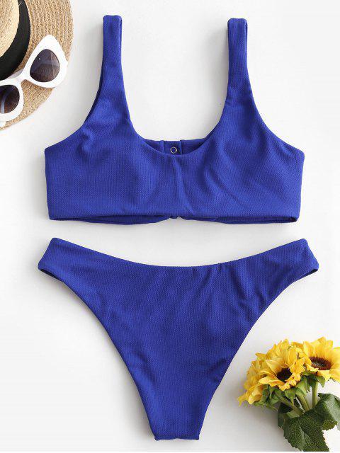 women's ZAFUL Textured Snap Button Tied Bikini Swimsuit - COBALT BLUE L Mobile