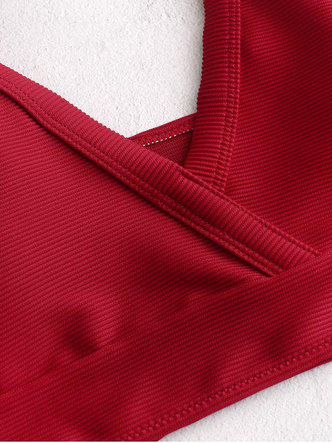 ZAFUL textura acanalada de Tankini del traje de baño - Rojo XL Mobile