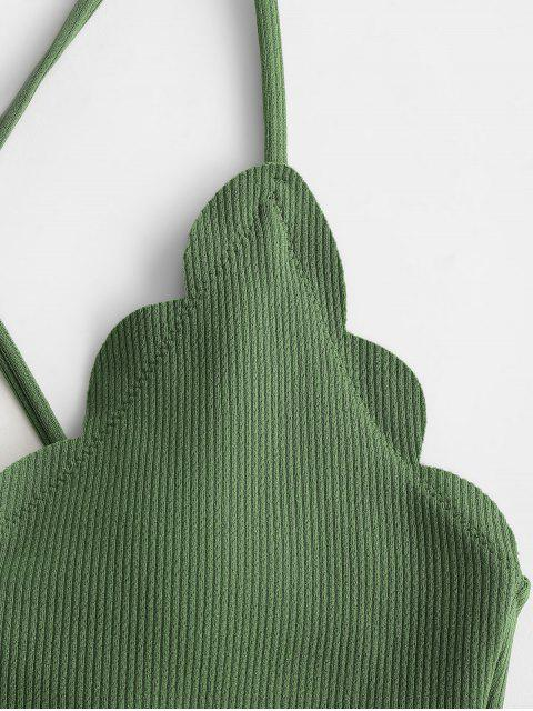 ZAFUL acanalado festoneado de encaje panza de control de Tankini del traje de baño - Bosque Verde Mediana 2XL Mobile