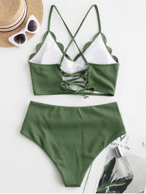 ZAFUL acanalado festoneado de encaje panza de control de Tankini del traje de baño - Bosque Verde Mediana M Mobile