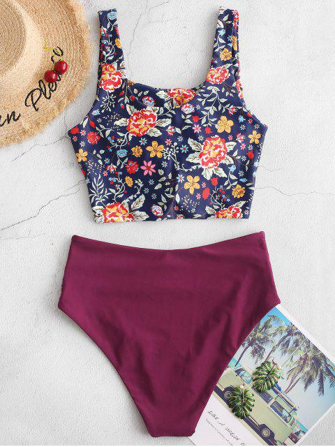 hot ZAFUL Ruched Knot Plant Print Tankini Swimsuit - PLUM PIE M Mobile