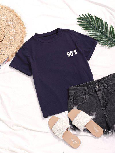 ZAFUL Cuffed Sleeves Number Graphic Casual Tee, Midnight blue