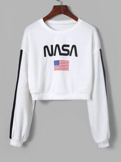 ZAFUL American Flag Tape Sleeve Drop Shoulder Sweatshirt - Milk White S