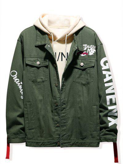 Letter Print Denim Jacket - Army Green M
