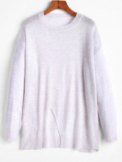 ZAFUL Metallic Thread Slit Drop Shoulder Tunic Sweater - Multi M