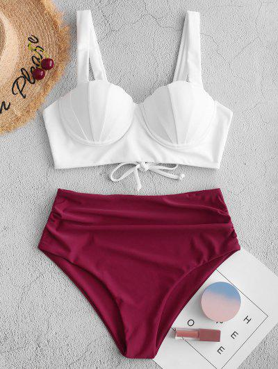 ZAFUL Push Up Ruched Shell Tankini Swimsuit - Maroon S