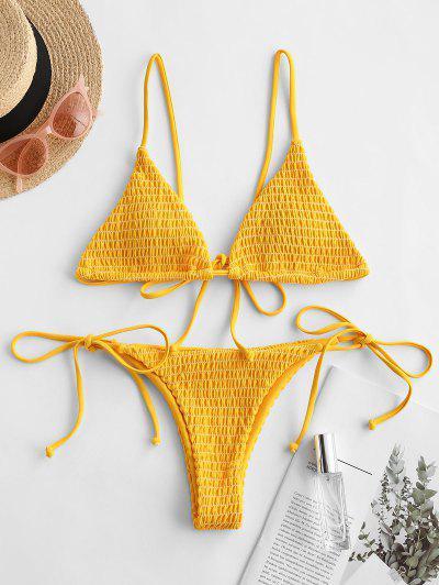 ZAFUL Smocked Low Waisted String Bikini Swimsuit - Bee Yellow S