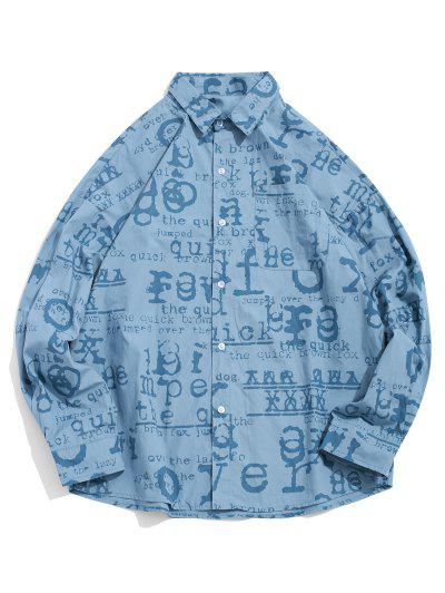 Allover Letter Graphic Print Button Shirt