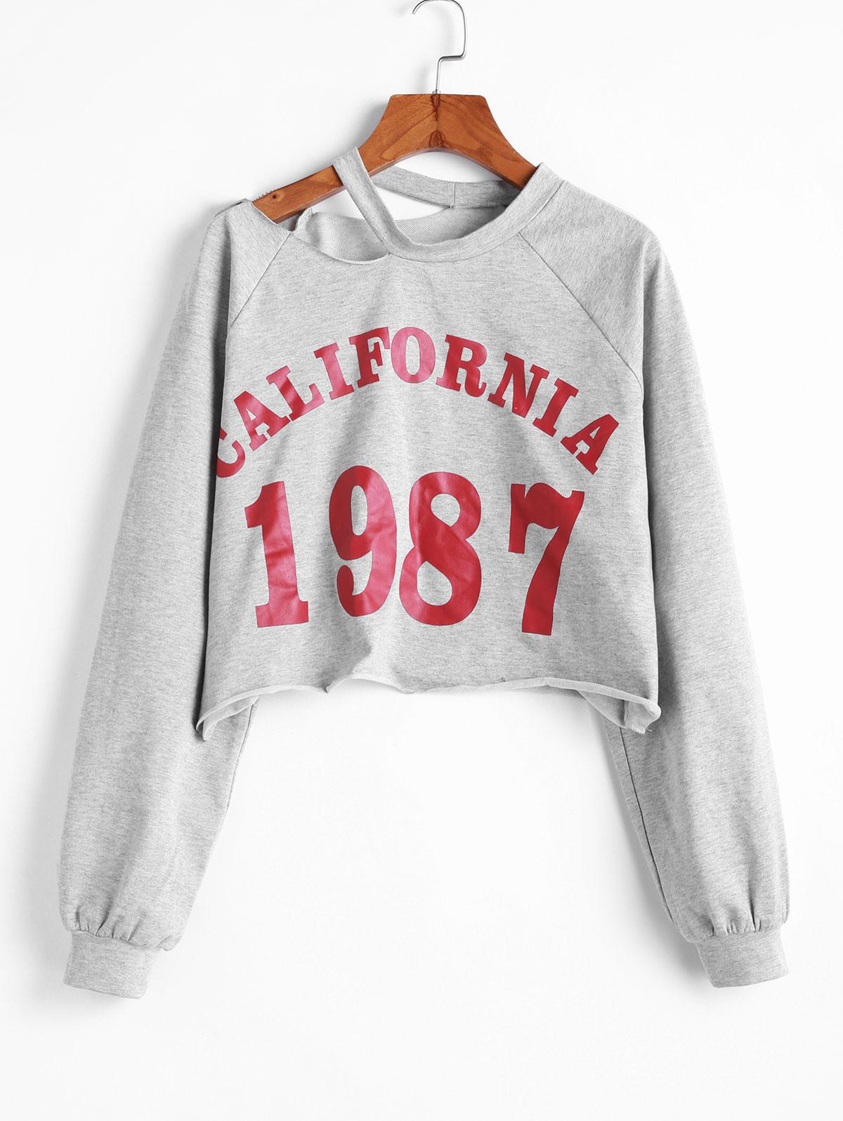 ZAFUL California 1987 Graphic Cut Out Shoulder Cropped Sweatshirt, Light gray