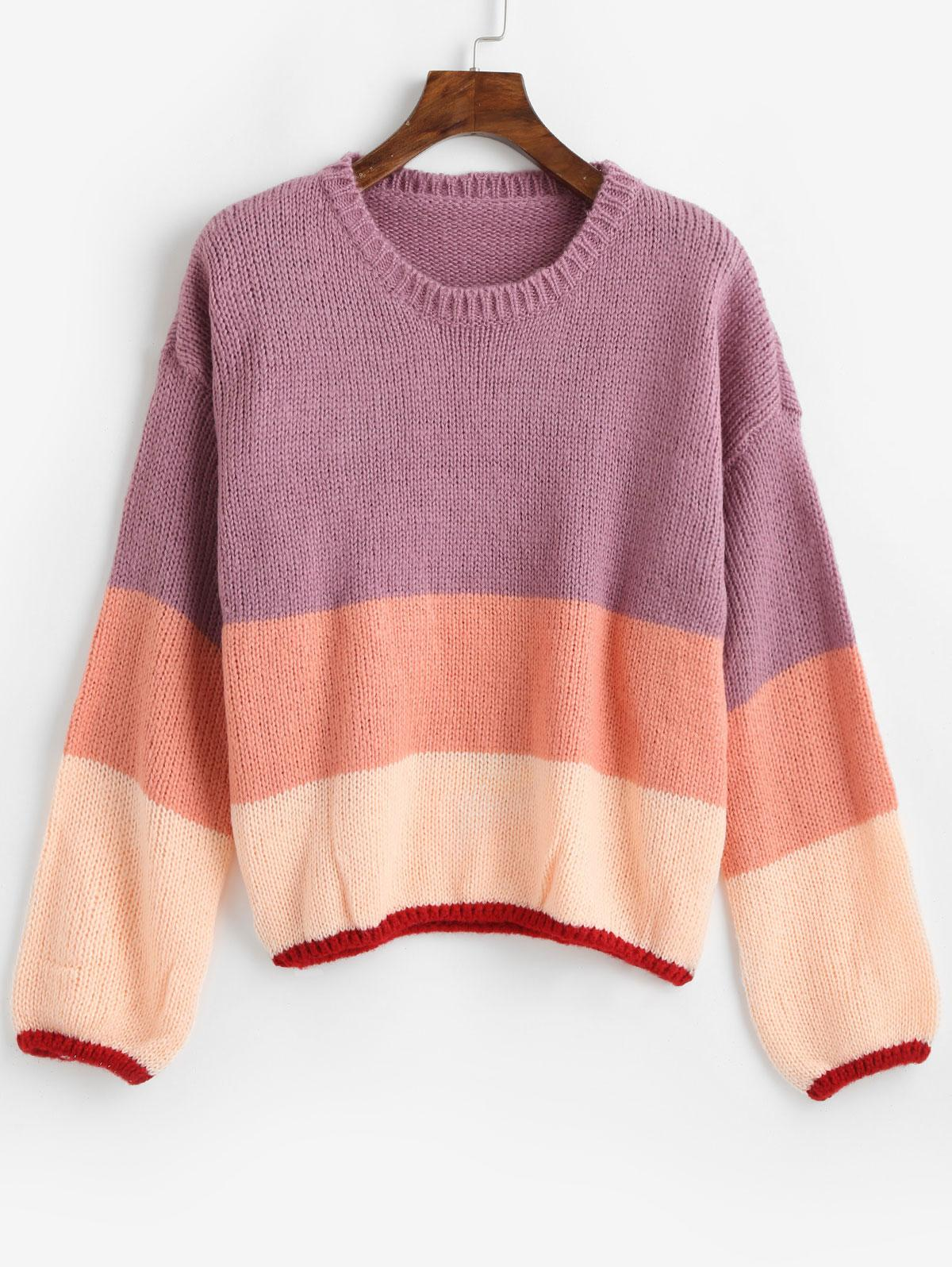 Pullover Drop Shoulder Color Block Sweater фото