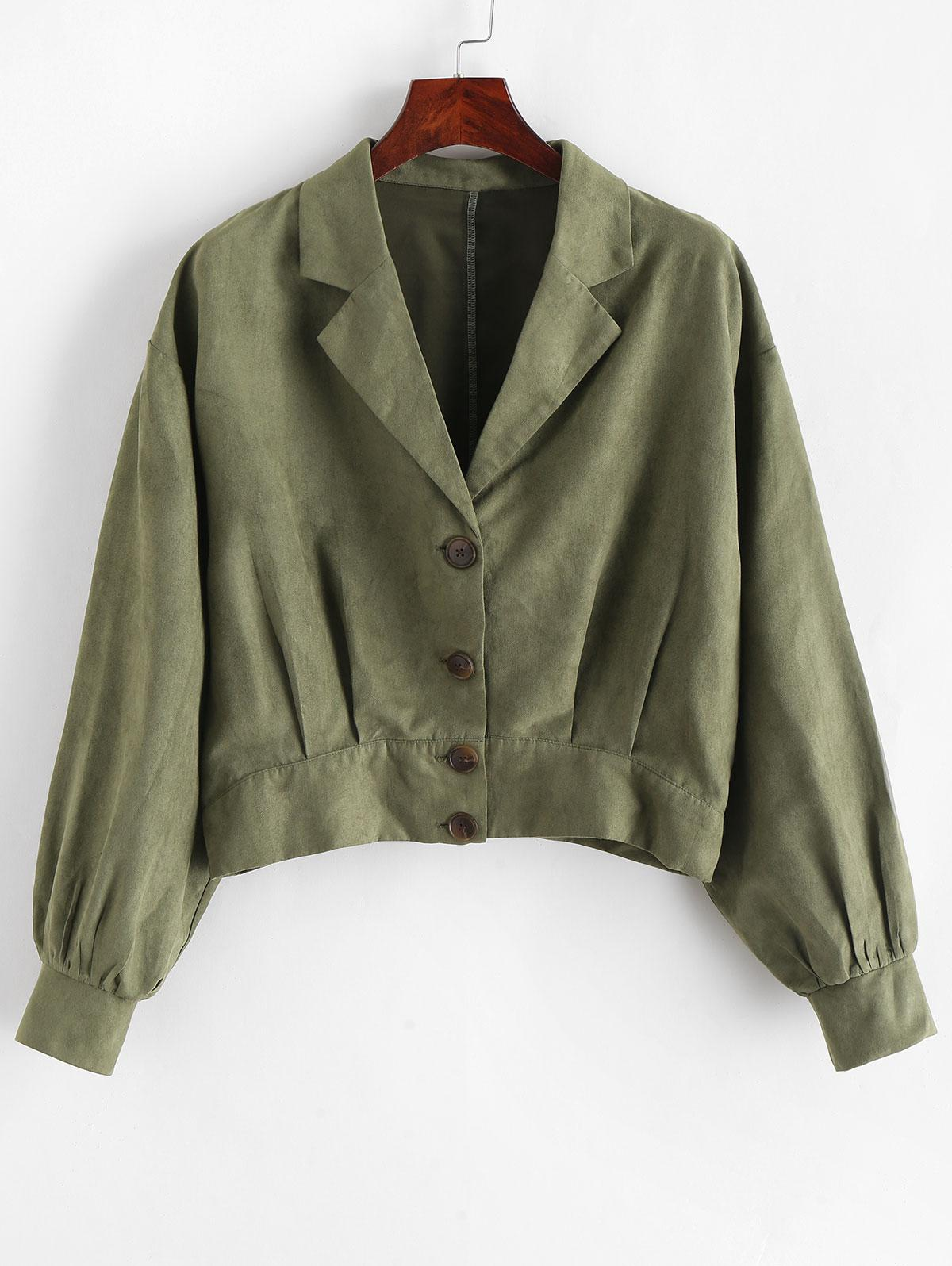 ZAFUL Pleated-detail Faux Suede Jacket