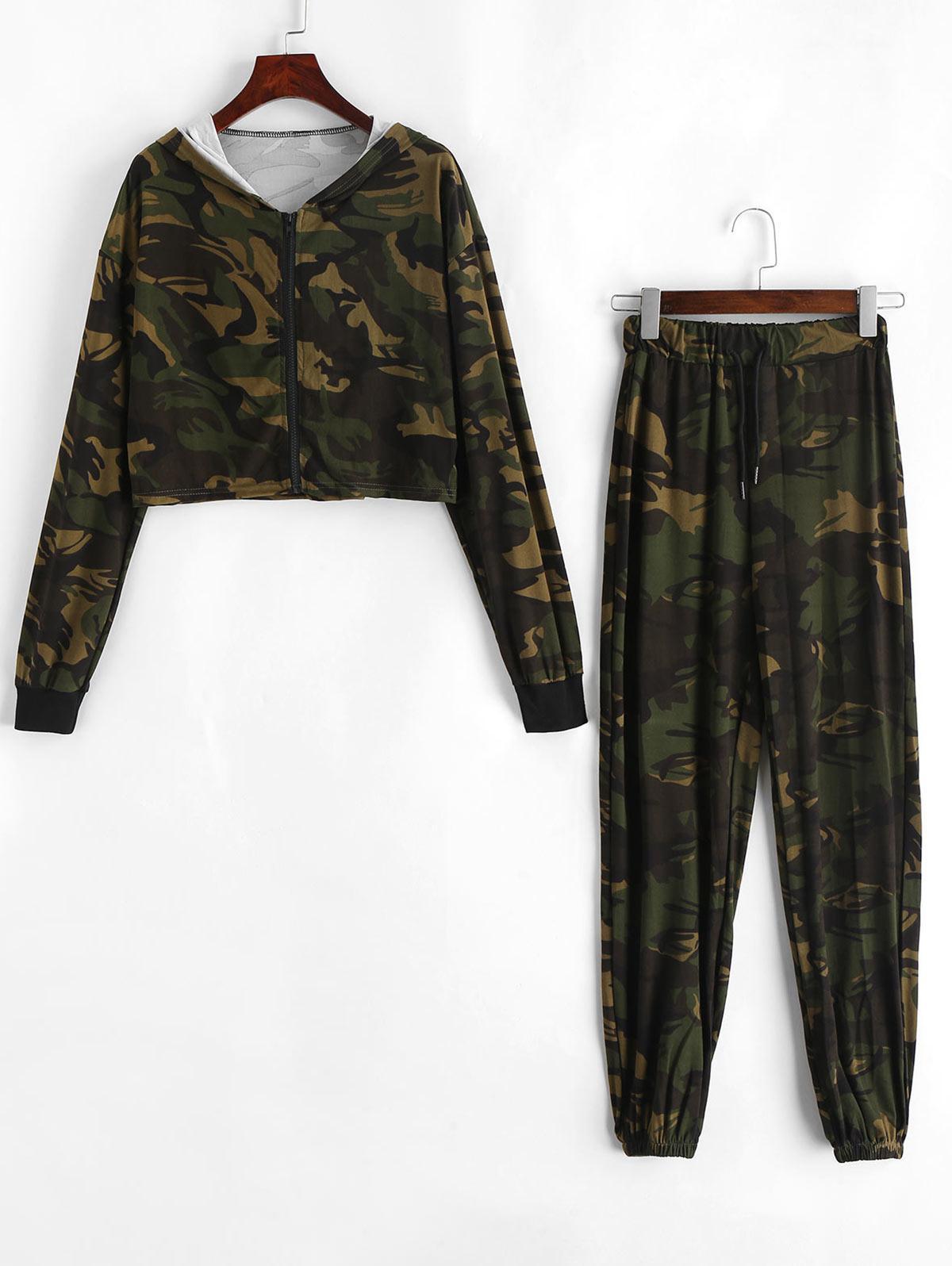 Camo Hooded Zip Two Piece Jogger Pants Set thumbnail