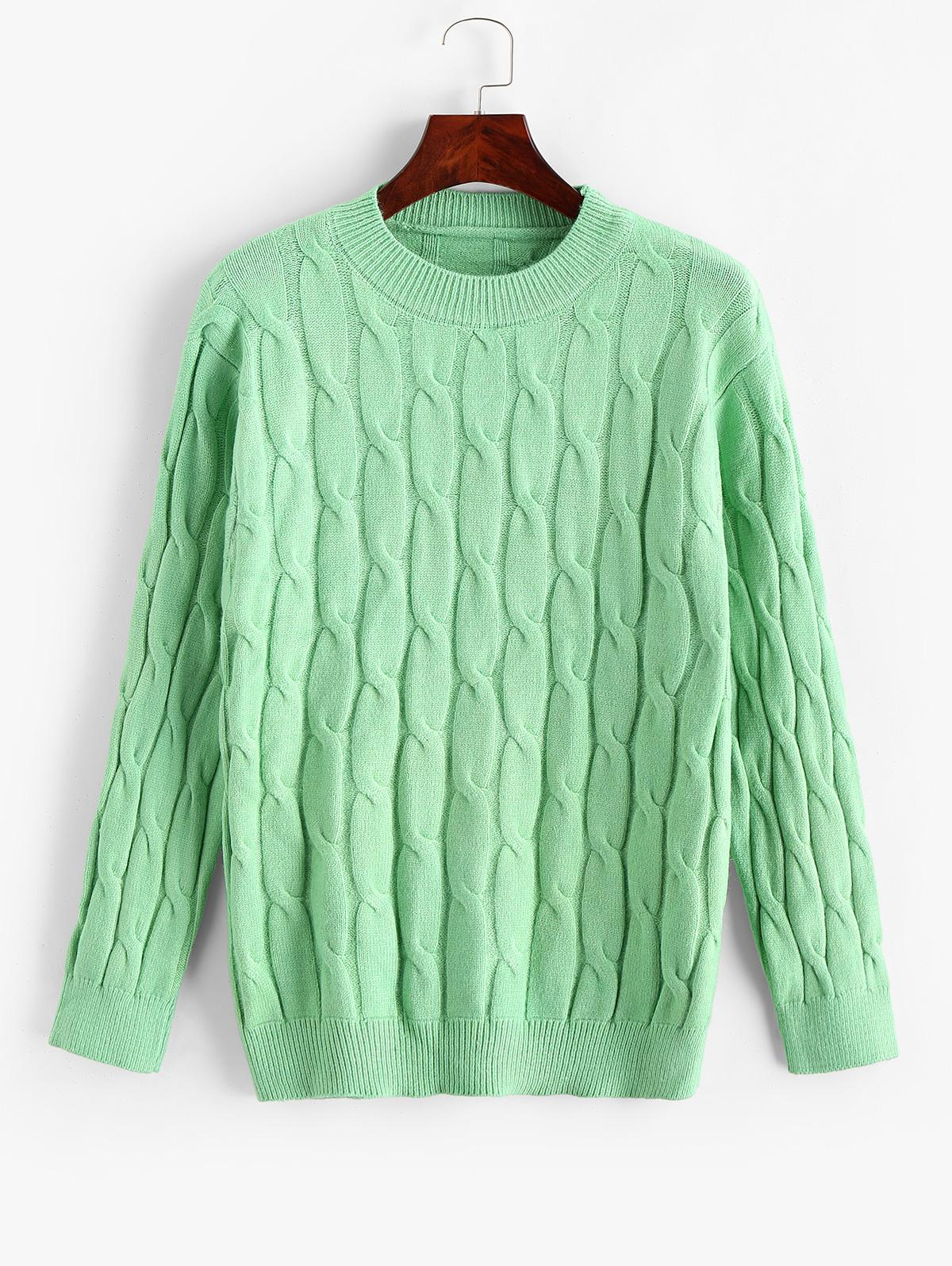 Cable Knit Solid Crew Neck Sweater thumbnail