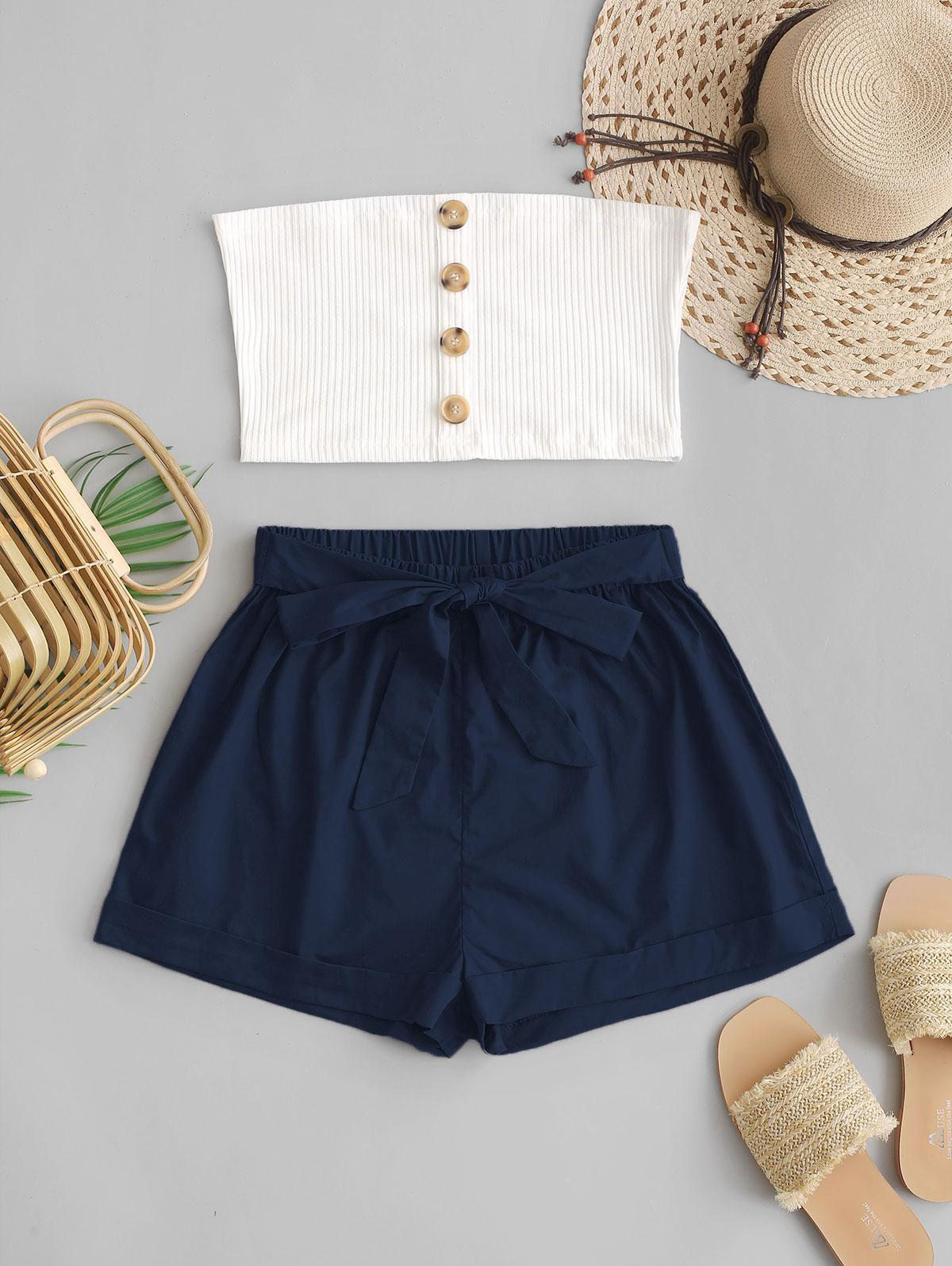 ZAFUL Two Piece Buttoned Ribbed Bandeau Top Set thumbnail